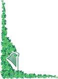 St. Patrick's Day Celtic Harp corner frame royalty free illustration