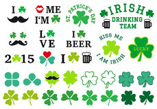 St Patrick's day, clover set, vector Royalty Free Stock Photography