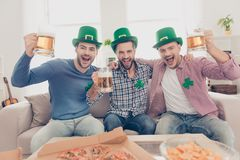 St Patrick`s day concept. Cheerful guys drinking beer. St Patrick`s day concept. Close up portrait of  cheerful, positive excited successful stylish lucky guys Stock Images