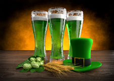 St Patrick`s Day concept, green beer, hat. 3D render Stock Photography