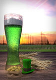 St Patrick`s Day concept, green beer, hat, treasure. 3D render Royalty Free Stock Photo