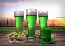 St Patrick`s Day concept, green beer, hat, treasure. 3D render Stock Images