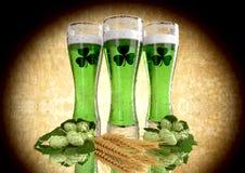 St Patrick`s Day concept, green beer, shamrock. 3D render Stock Images