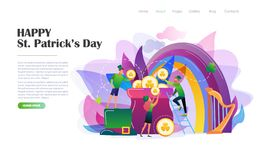St. Patrick`s Day concept with leprechauns. St. Patrick`s Day concept with people in leprechaun costumes, rainbow, pot of gold coins. Website landing page design royalty free illustration