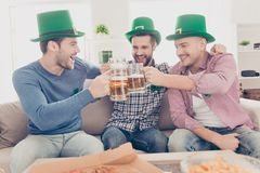 St Patrick`s day concept. Portrait of laughing, cheerful, positi. Ve successful stylish lucky guys with stubble in green hats having glasses with lager in hands Royalty Free Stock Photos