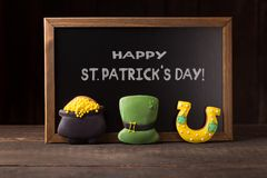 St. Patrick`s day concept. Over wooden background royalty free stock image