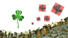 St. Patrick's Day 3d clover over abstract mountains landscape background of metal boxes and flying gift boxes. Decorative greeting. Postcard with copyspace for Stock Photo