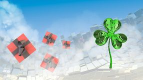 St. Patrick's Day 3d clover over abstract mountains landscape background of metal boxes and flying gift boxes. Decorative greeting. Postcard with copyspace for Stock Images