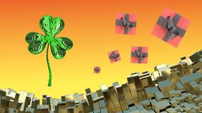 St. Patrick's Day 3d clover over abstract mountains landscape background of metal boxes and flying gift boxes. Decorative greeting. Postcard with copyspace for Royalty Free Stock Photography