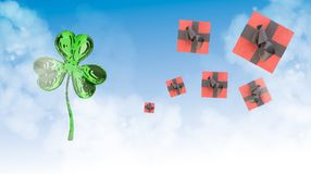 St. Patrick's Day 3d clover and ping gift boxes over space background. Decorative greeting postcard. Simple banner for the site, s. Hop, magazine promotions with Royalty Free Stock Photos
