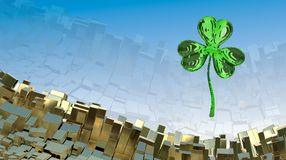 St. Patrick's Day 3d effect clover over abstract mountain landscape background of metal boxes. Decorative greeting postcard with c. Opyspace for your text. 3d Stock Photo