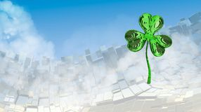 St. Patrick's Day 3d effect clover over abstract mountain landscape background of metal boxes. Decorative greeting postcard with c. Opyspace for your text. 3d Stock Image
