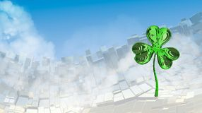 St. Patrick's Day 3d effect clover over abstract mountain landscape background of metal boxes. Decorative greeting postcard with c. Opyspace for your text. 3d Royalty Free Stock Photography