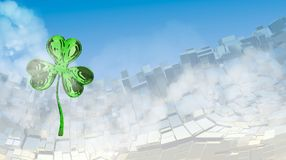 St. Patrick's Day 3d effect clover over abstract mountain landscape background of metal boxes. Decorative greeting postcard with c. Opyspace for your text. 3d Royalty Free Stock Image