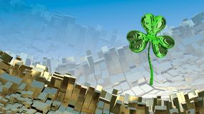 St. Patrick's Day 3d effect clover over abstract mountain landscape background of metal boxes. Decorative greeting postcard with c. Opyspace for your text. 3d Stock Images