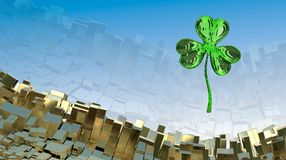 St. Patrick's Day 3d effect clover over abstract mountain landscape background of metal boxes. Decorative greeting postcard with c. Opyspace for your text. 3d Royalty Free Stock Photo