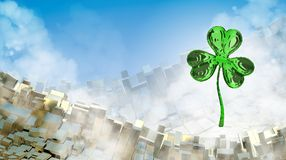 St. Patrick's Day 3d effect clover over abstract mountain landscape background of metal boxes. Decorative greeting postcard with c. Opyspace for your text. 3d Stock Photos