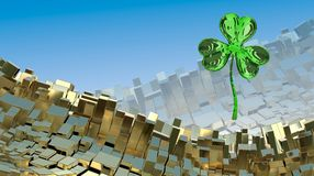 St. Patrick's Day 3d effect clover over abstract mountain landscape background of metal boxes. Decorative greeting postcard with c. Opyspace for your text. 3d Stock Photography