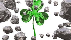 St. Patrick's Day 3d effect clover over space background and asteroid field. Decorative greeting postcard. Simple banner for. St. Patrick's Day 3d Stock Photo