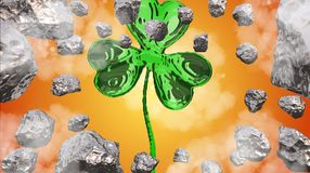 St. Patrick's Day 3d effect clover over space background and asteroid field. Decorative greeting postcard. Simple banner for. St. Patrick's Day 3d Royalty Free Stock Photo