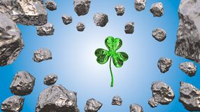 St. Patrick's Day 3d effect clover over space background and asteroid field. Decorative greeting postcard. Simple banner for. St. Patrick's Day 3d Stock Images