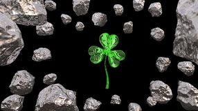 St. Patrick's Day 3d effect clover over space background and asteroid field. Decorative greeting postcard. Simple banner for. St. Patrick's Day 3d Royalty Free Stock Photos