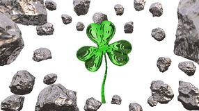 St. Patrick's Day 3d effect clover over space background and asteroid field. Decorative greeting postcard. Simple banner for. St. Patrick's Day 3d Royalty Free Stock Image