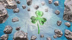 St. Patrick's Day 3d effect clover over space background and asteroid field. Decorative greeting postcard. Simple banner for the s. Ite, shop, magazine Royalty Free Stock Images
