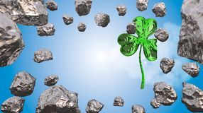 St. Patrick's Day 3d effect clover over space background and asteroid field. Decorative greeting postcard. Simple banner for the s. Ite, shop, magazine Royalty Free Stock Photos