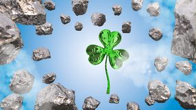St. Patrick's Day 3d effect clover over space background and asteroid field. Decorative greeting postcard. Simple banner for. St. Patrick's Day 3d Royalty Free Stock Photography