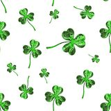 St. Patrick's Day 3d effect clover over space background. Decorative greeting grungy or postcard. Seamless texture. 3d Royalty Free Stock Image