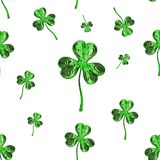 St. Patrick's Day 3d effect clover over space background. Decorative greeting grungy or postcard. Seamless texture. 3d illustratio Stock Photo
