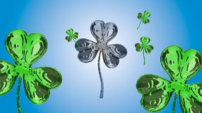 St. Patrick's Day 3d effect clover over space background. Decorative greeting grungy or postcard. Simple banner for the site, Royalty Free Stock Photos