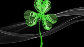 St. Patrick's Day 3d effect clover over white smoke background. Decorative greeting grungy or postcard. Simple banner for the site. Shop, magazine promotions Stock Photo