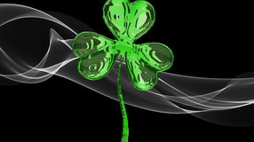 St. Patrick's Day 3d effect clover over white smoke background. Decorative greeting grungy or postcard. Simple banner for the site Stock Images