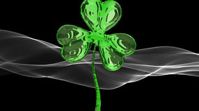 St. Patrick's Day 3d effect clover over white smoke background. Decorative greeting grungy or postcard. Simple banner for the site. Shop, magazine promotions Stock Photos