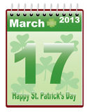 St. Patrick's Day date. Calendar with St. Patrick's Day date vector illustration Stock Photo