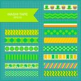 St. Patrick`s Day decorarive washi tape. Set of St. Patrick`s Day decorarive washi tape stripes vector illustration