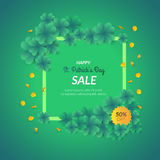 St. Patrick`s day decorative background with many clovers. Stock Photo
