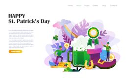 St. Patrick`s Day design template. St. Patrick`s Day concept with people in leprechaun costumes, beer mug, shoe, horseshoe. Website landing page design template royalty free illustration