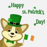 St.Patrick `s Day. Dog corgi in a green hat with clover and the flag of Ireland. vector illustration