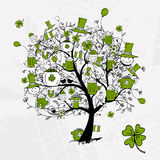 St. Patrick's Day, drawing tree with beer mugs Royalty Free Stock Photo