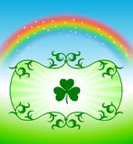 St. Patrick's Day elements on rainbow background Stock Image