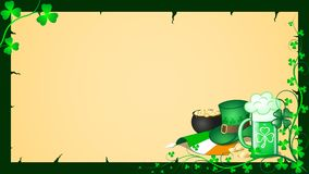 St. Patrick`s Day Festive card blank. Decorative Lucky Shamrock border frame St. Patrick`s Day card stock illustration
