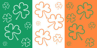 St. Patrick`s day flag with small shamrock. St. Patrick`s day flag Stock Photo