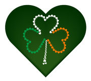 St. Patrick`s day flag with small shamrock Stock Images