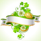 St. Patrick's Day frame 5. St. Patrick's Day frame with clover and golden coin Royalty Free Stock Photo