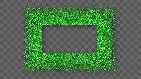 St. Patrick`s Day Frame. With Bland Shadows Isolated On Transparent Background. Abstract Green Texture Rectangle Border. Vector Illustration, Eps 10 stock illustration