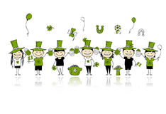 St. Patrick's Day, friends with beer mugs Stock Images