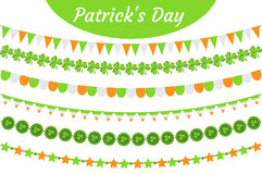 St. Patrick`s Day garland set. Festive decorations bunting. Party elements, flags, shamrock, clover. Isolated on white Royalty Free Stock Photo